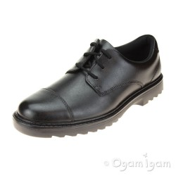 Clarks Asher Soar Boys Black School Shoe