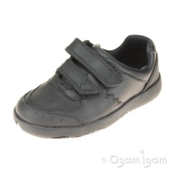 Clarks Rex Pace Boys Black School Shoe