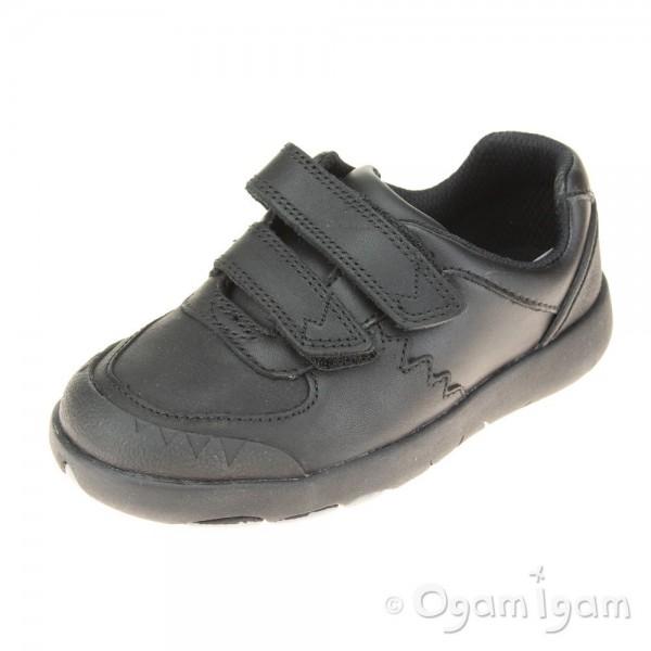 Clarks Rex Pace Boys Black School Shoe