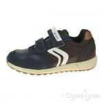 Geox Alben Boys Navy-Brown Trainer
