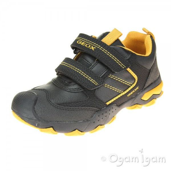 Geox Buller Boys Black-Dark Yellow Trainer