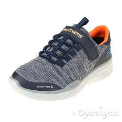 Skechers Equalizer Aquablast Boys Navy-Grey Waterproof Trainer