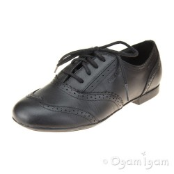 Geox Plie Girls Black Brogue School Shoe