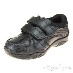 Hush Puppies Jezza Boys Black School Shoe