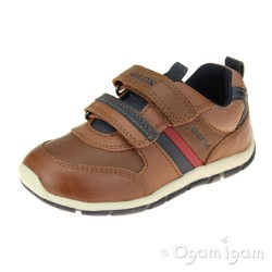 Geox Shaax Boys Cognac-Dark Navy Shoe