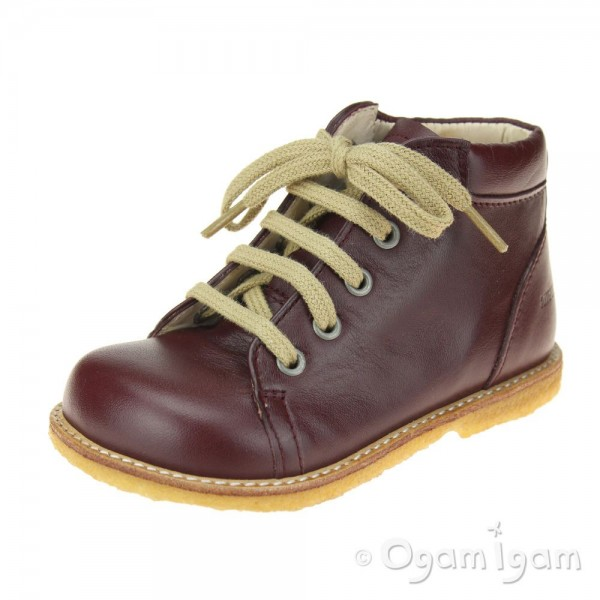Angulus Lace Up Boot Girls Bordeaux Boot