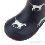 Joules Navy Horses Welly Girls Navy Wellington Boot