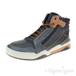 Geox Perth Boys Navy-Light Brown Boot