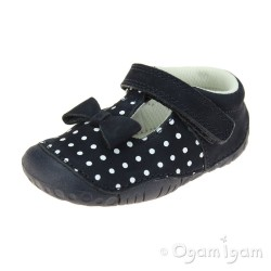 Start-rite Wiggle Infant Girls Navy Polka Dot Shoe