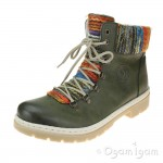 Rieker Y943252 Womens Leaf Green Warm-lined Ankle Boot