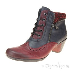 Rieker Y721135 Womens Wine-Navy Ankle Boot