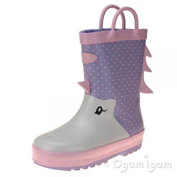 Chipmunks Una Girls Pink Wellington Boot