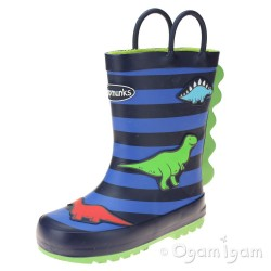 Chipmunks Jurassic 2 Boys Girls Multi Stripe Wellington Boot