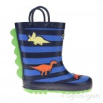 Chipmunks Jurassic 2 Boys Girls Multi Stripe Wellington Boot