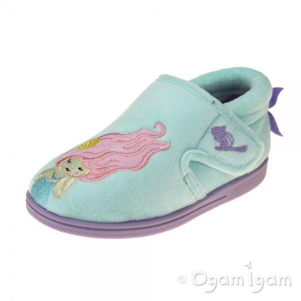 Chipmunks Maisie Girls Turquoise Slipper