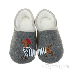 Joules Slippet Grey Dog Womens Grey Slipper