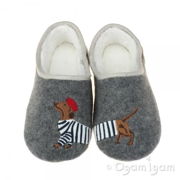 Joules Slippet Grey Dog Womens Grey Slipper
