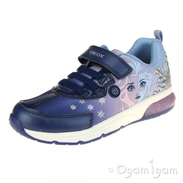 Geox Spaceclub Girls Navy-Lilac Lights Trainer