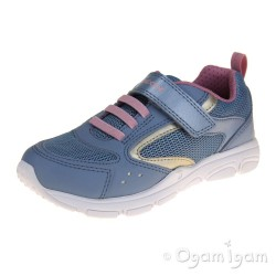 Geox Torque Girls Avio Blue Light Gold Trainer