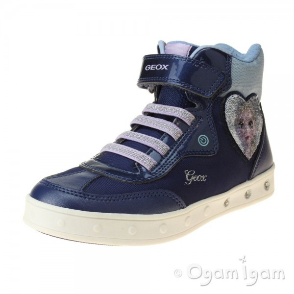 Geox Skylin Girls Navy-Lilac Hi-top Boot Trainer style with lights