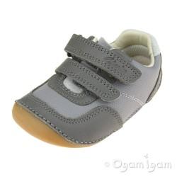 Clarks Tiny Dusk Infant Boys Girls Grey Combi Shoe