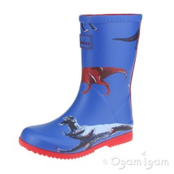 Joules Dino Roll Up Welly Kids Blue Wellington Boot