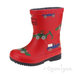 Joules Red Vehicles Welly Boys Red Wellington Boot