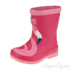 Joules Flamingo Welly Girls Pink Wellington  Boot