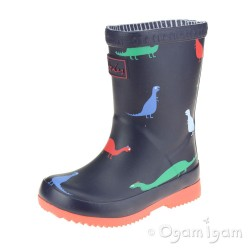 Joules Baby Dino Welly Boys Navy Wellington Boot