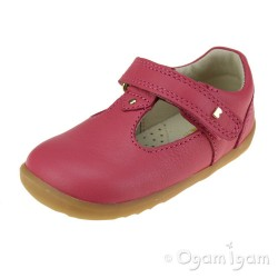 Bobux Louise Girls Strawberry Red T-bar Shoe