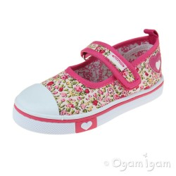 Primigi 5445500 Girls Floral Pink White Canvas Shoe
