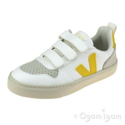 Veja V-10 Velcro Boys Girls White Tonic Trainer