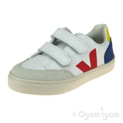 Veja V-12 Velcro Boys Girls White Multico Indigo Trainer