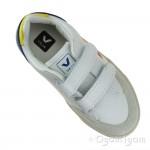 Veja V-12 Velcro Boys Girls White Multico Indigo Trainer