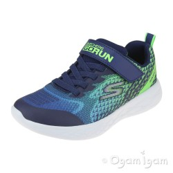 Skechers Go Run 600 Baxtux Boys Navy-Lime Trainer