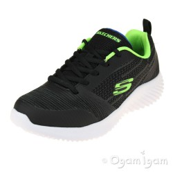 Skechers Bounder Boys Black-Blue-Lime Trainer