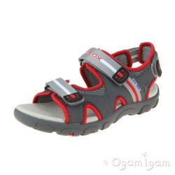 Geox Strada Boys Dark Grey-Red Sandal