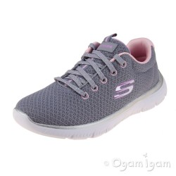 Skechers Summits Simply Special Girls Grey-Pink Lace-up Trainer