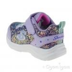 Skechers Glimmer Kicks GlitterNGlow Junior Girls Lavendar-Aqua Trainer