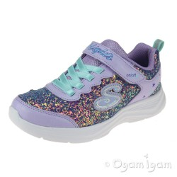 Skechers Glimmer Kicks GlitterNGlow Senior Girls Lavendar-Aqua Trainer