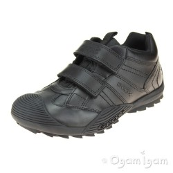 Geox Savage Boys Black School Shoe