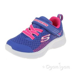 Skechers Microspec Girls Blue Neon Coral Trainer