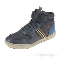 Geox Poseido Boys Navy Brown Ankle Boot
