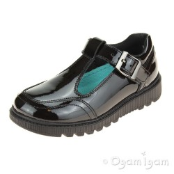 Hush Puppies Kerry Girls Black Patent T-bar School Buckle Shoe