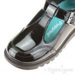 Hush Puppies Kerry Girls Black Patent T-bar School Buckle Shoe