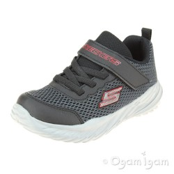 Skechers NitroSprint Krodon Boys Black-Red Trainer