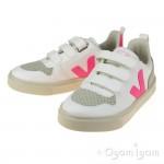 Veja V10 Velcro Girls White Sari Sneaker Shoe
