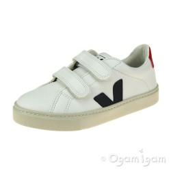 Veja Esplar Velcro Boys Girls White Nautico Pekin Sneaker Shoe