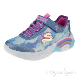 Skechers Rainbow Racer Girls Blue Lights Trainer