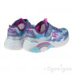 Skechers Rainbow Racer Girls Blue Lights Trainer